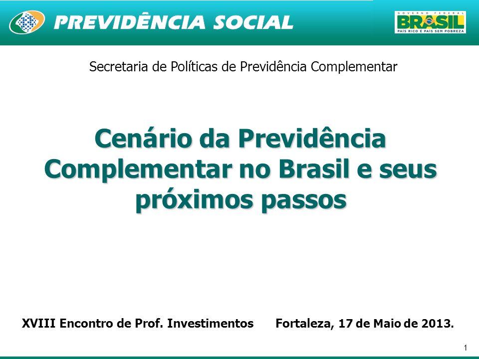 1 Cenário da Previdência Complementar no Brasil e seus próximos passos Secretaria de Políticas de Previdência Complementar XVIII Encontro de Prof. Inv