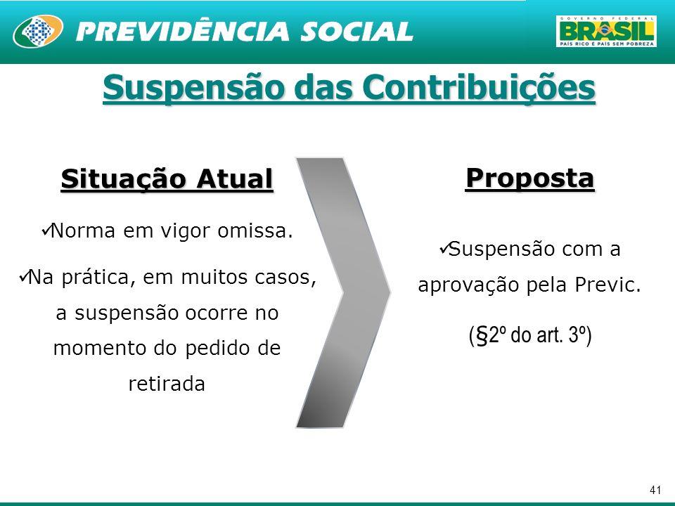 41 Suspensão das Contribuições Proposta Suspensão com a aprovação pela Previc. (§2º do art. 3º) Situação Atual Norma em vigor omissa. Na prática, em m