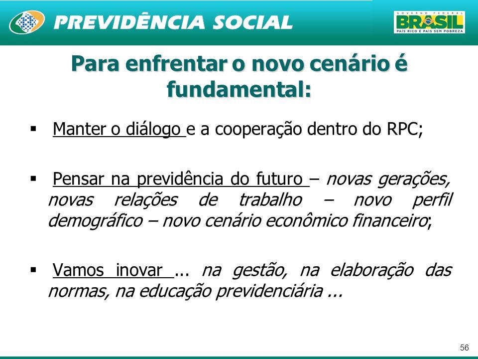 56 Manter o diálogo e a cooperação dentro do RPC; Pensar na previdência do futuro – novas gerações, novas relações de trabalho – novo perfil demográfi