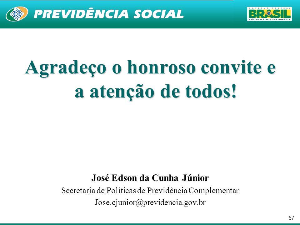57 Agradeço o honroso convite e a atenção de todos! José Edson da Cunha Júnior Secretaria de Políticas de Previdência Complementar Jose.cjunior@previd