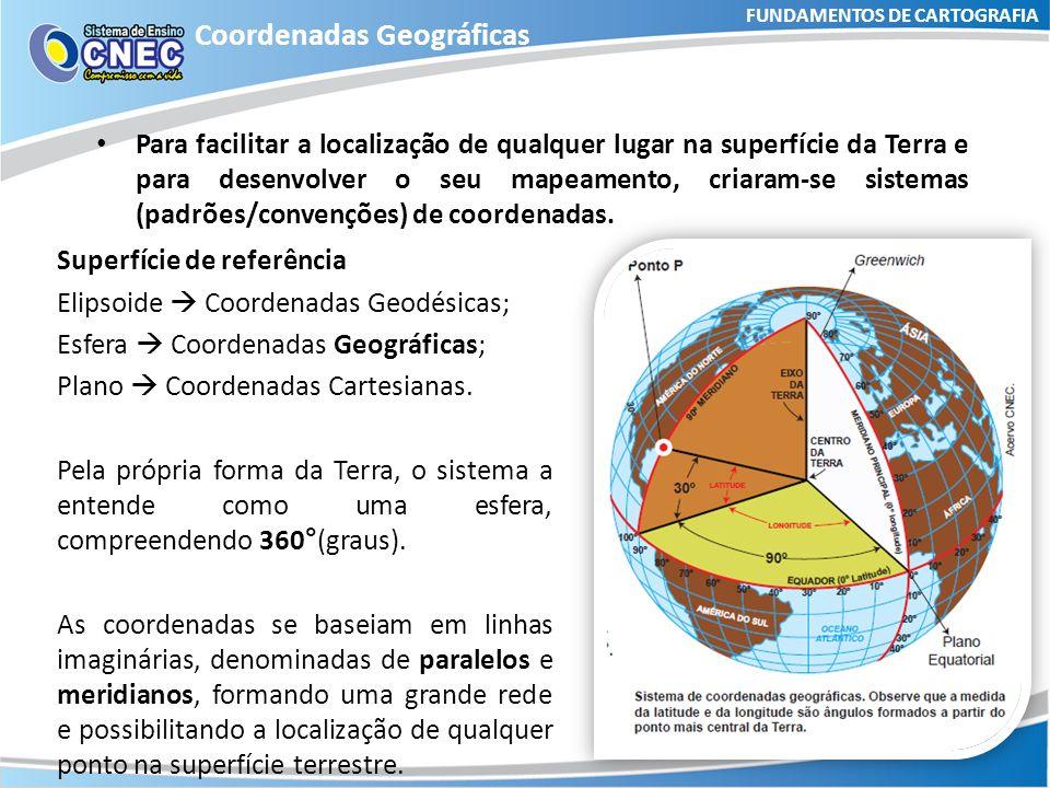 FUNDAMENTOS DE CARTOGRAFIA Coordenadas Geográficas Meridianos: São semicírculos (isto é, 180°), gerados a partir da intersecção de planos verticais que contêm o eixo de rotação da superfície da Terra.