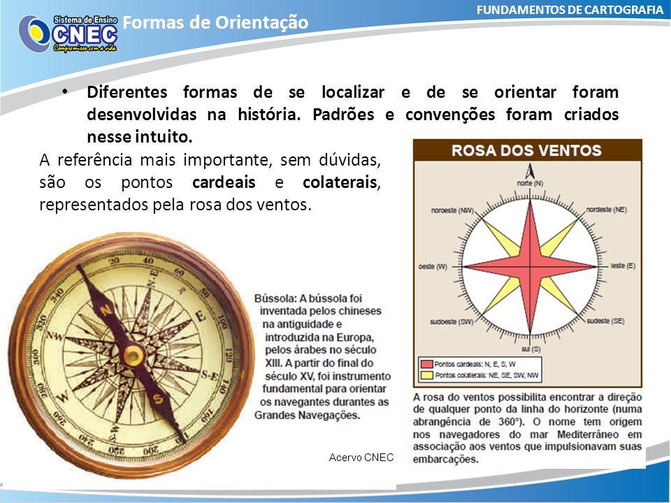 FUNDAMENTOS DE CARTOGRAFIA Formas de Orientação Orientar -> ORIENTE (nascente) Sol nascente -> Leste (Oriente) Sol poente -> Oeste (Ocidente) Acervo CNEC Norte (North) (N) Sul (South) (S) Leste (East) (E/L) Oeste (West) (W/O)