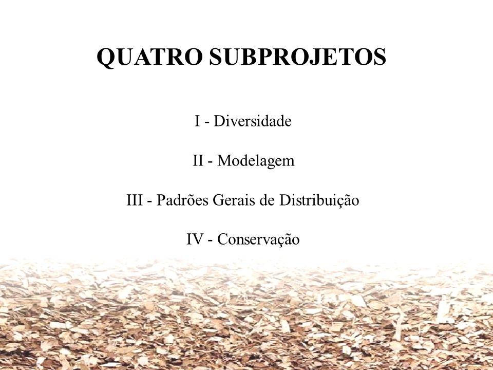 QUATRO SUBPROJETOS I - Diversidade II - Modelagem III - Padrões Gerais de Distribuição IV - Conservação