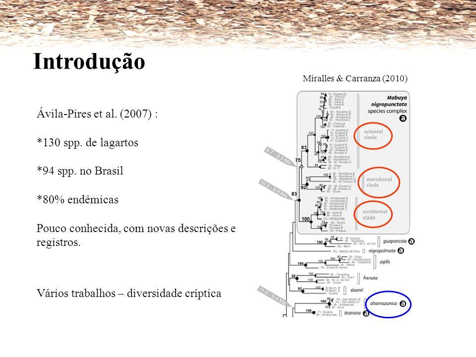 Vários trabalhos – diversidade críptica Introdução Miralles & Carranza (2010) Ávila-Pires et al. (2007) : *130 spp. de lagartos *94 spp. no Brasil *80
