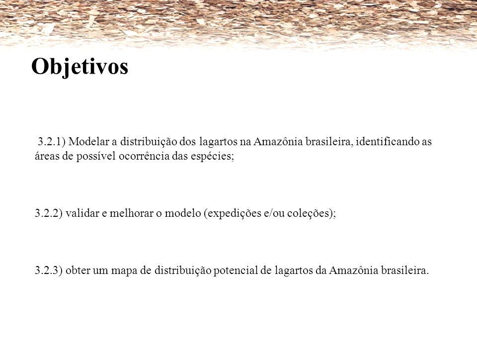 3.2.1) Modelar a distribuição dos lagartos na Amazônia brasileira, identificando as áreas de possível ocorrência das espécies; 3.2.2) validar e melhor