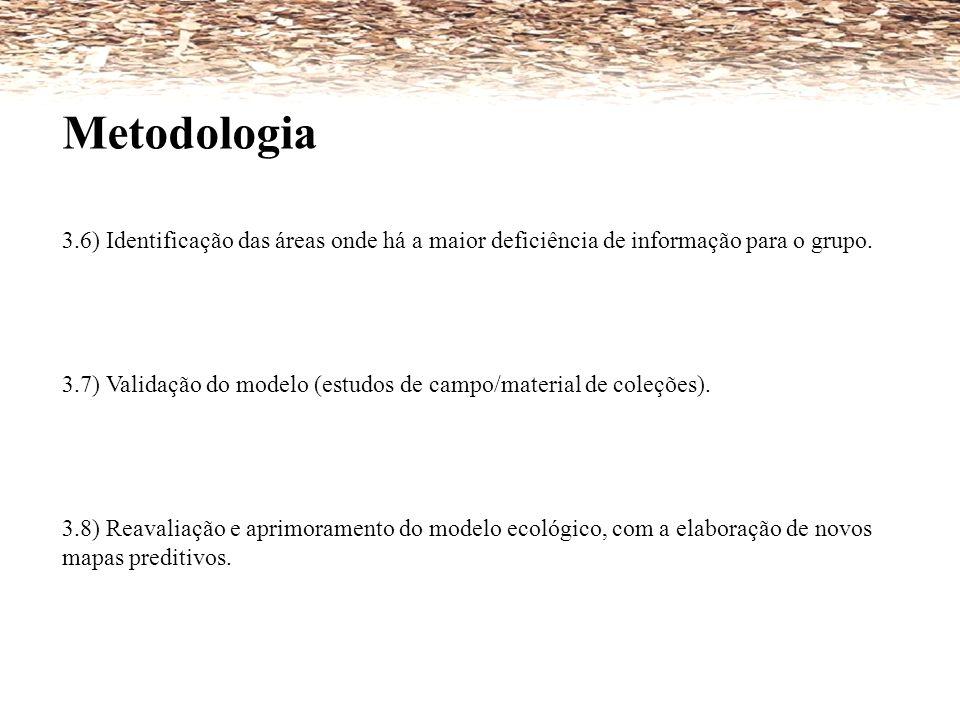 Metodologia 3.6) Identificação das áreas onde há a maior deficiência de informação para o grupo. 3.7) Validação do modelo (estudos de campo/material d