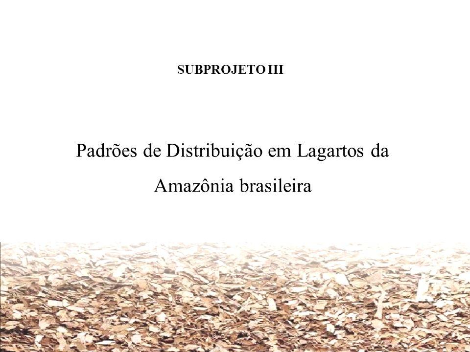 SUBPROJETO III Padrões de Distribuição em Lagartos da Amazônia brasileira