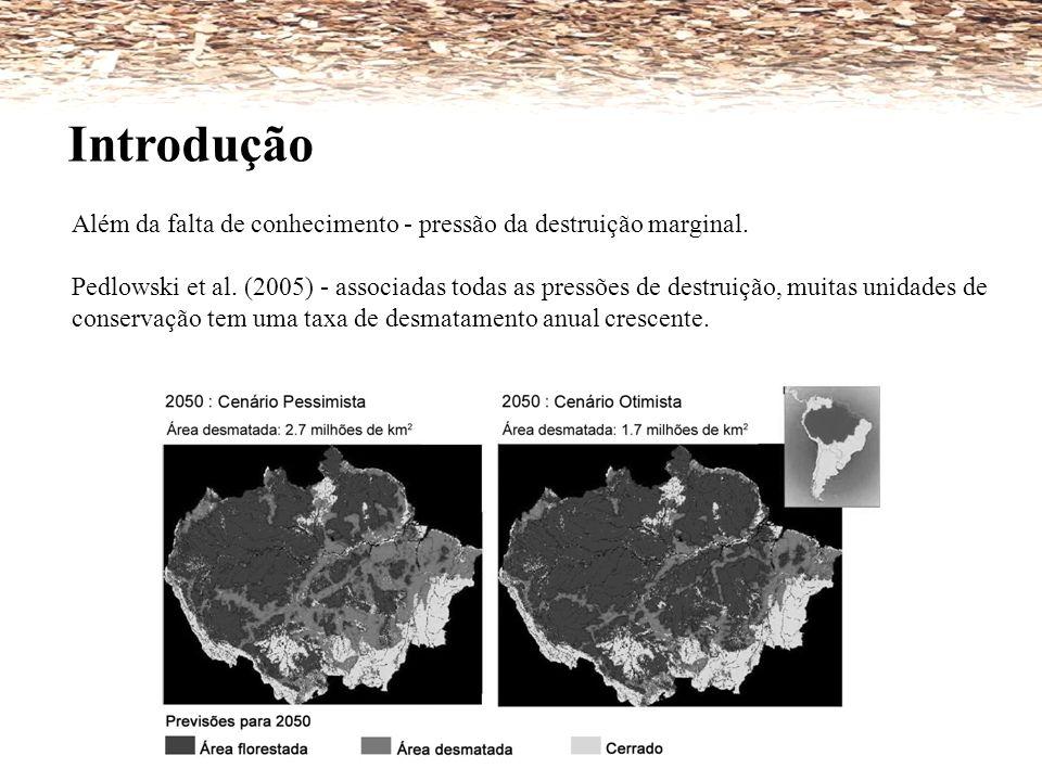 Introdução Além da falta de conhecimento - pressão da destruição marginal. Pedlowski et al. (2005) - associadas todas as pressões de destruição, muita