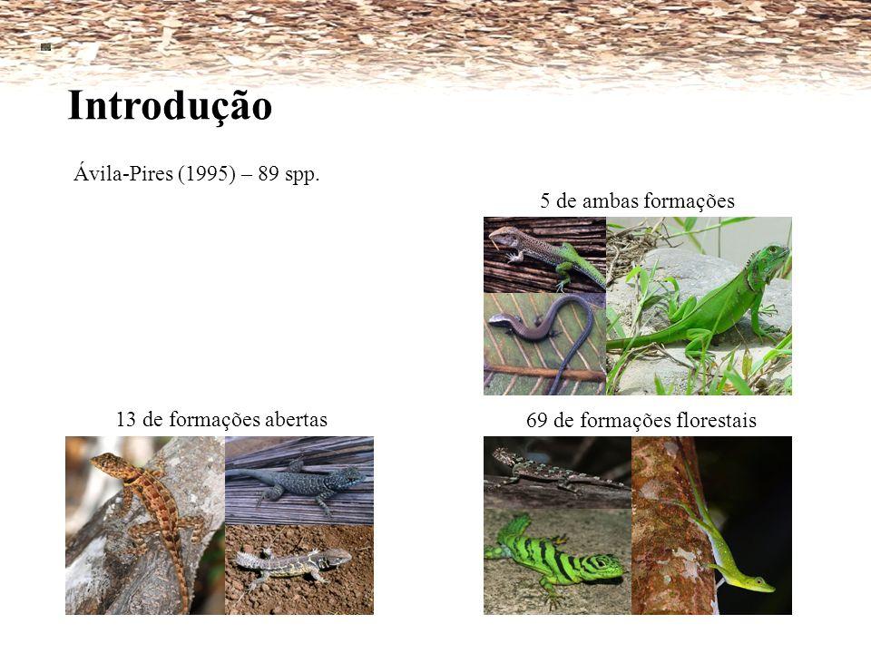 13 de formações abertas Ávila-Pires (1995) – 89 spp. Introdução 69 de formações florestais 5 de ambas formações