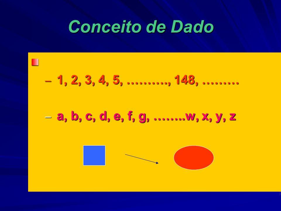 Conceito de Dado – 1, 2, 3, 4, 5, ………., 148, ……… – a, b, c, d, e, f, g, ……..w, x, y, z