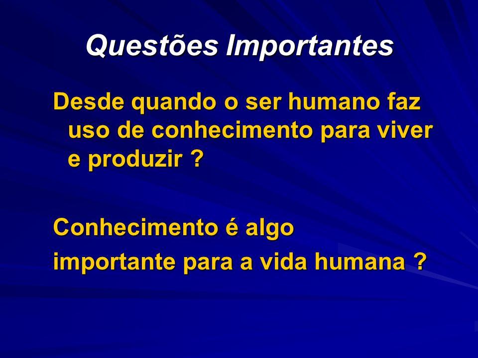 Questões Importantes Desde quando o ser humano faz uso de conhecimento para viver e produzir ? Conhecimento é algo importante para a vida humana ?