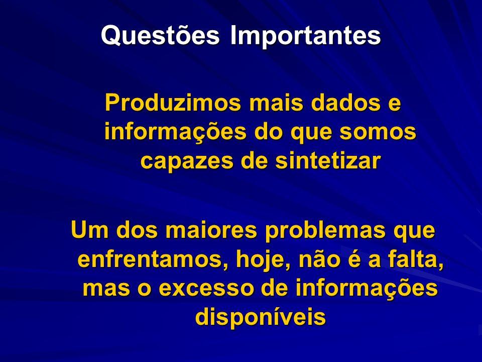 Questões Importantes Produzimos mais dados e informações do que somos capazes de sintetizar Um dos maiores problemas que enfrentamos, hoje, não é a fa