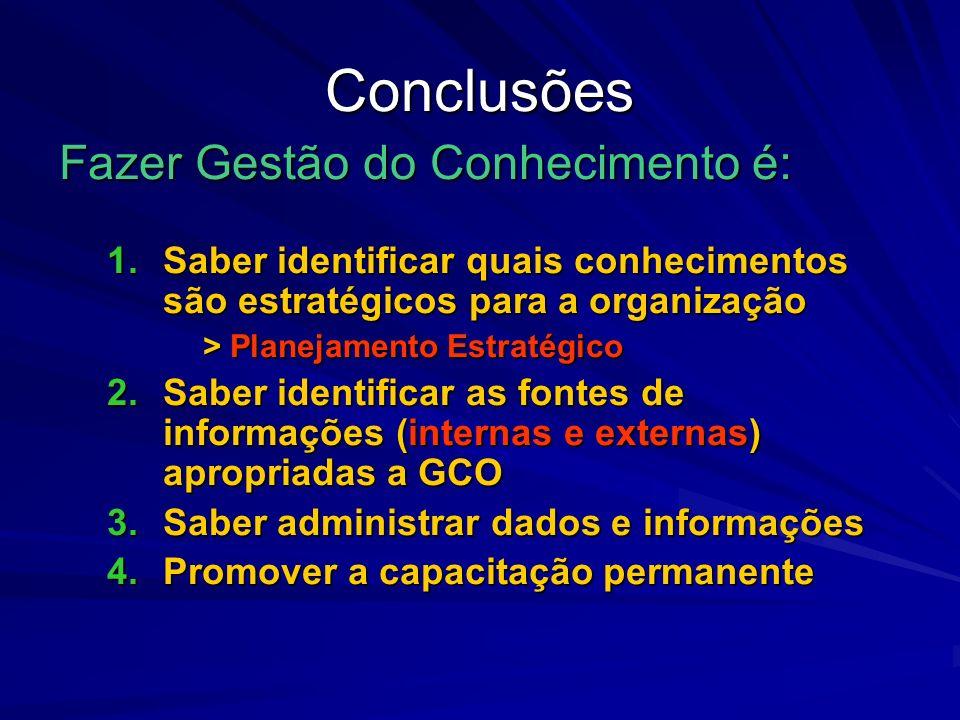 Conclusões Fazer Gestão do Conhecimento é: 1.Saber identificar quais conhecimentos são estratégicos para a organização > Planejamento Estratégico 2.Sa