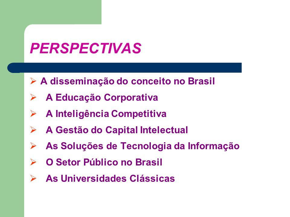PERSPECTIVAS A disseminação do conceito no Brasil A Educação Corporativa A Inteligência Competitiva A Gestão do Capital Intelectual As Soluções de Tec