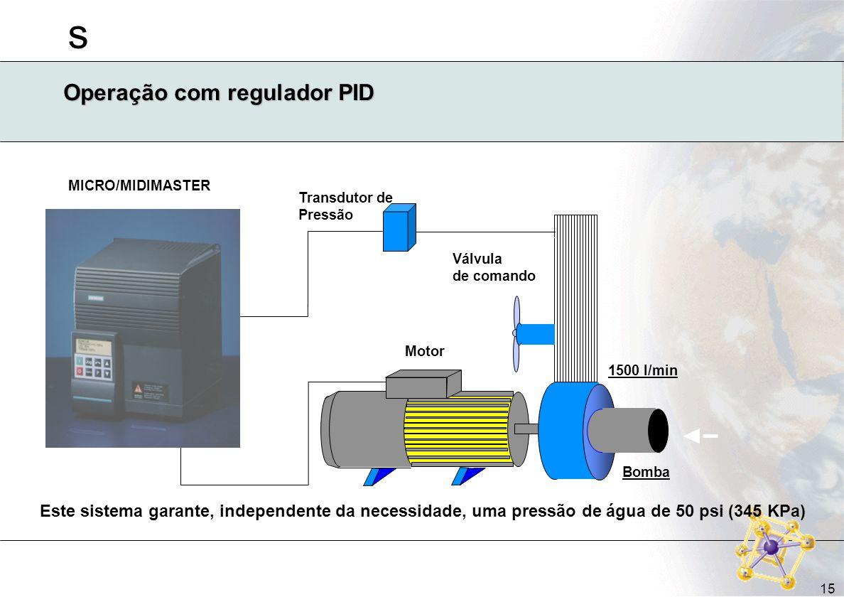 s 15 Operação com regulador PID Este sistema garante, independente da necessidade, uma pressão de água de 50 psi (345 KPa) Transdutor de Pressão Válvu