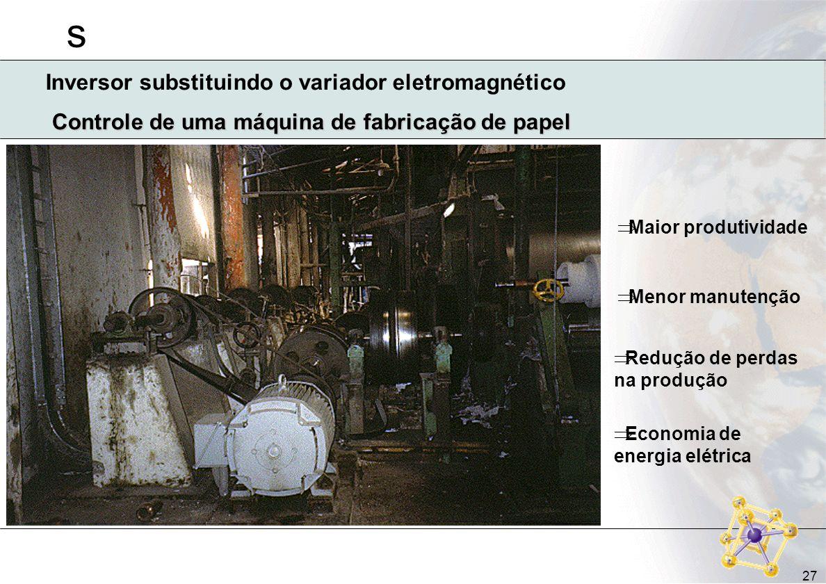 s 27 Controle de uma máquina de fabricação de papel Maior produtividade Menor manutenção Redução de perdas na produção Economia de energia elétrica In