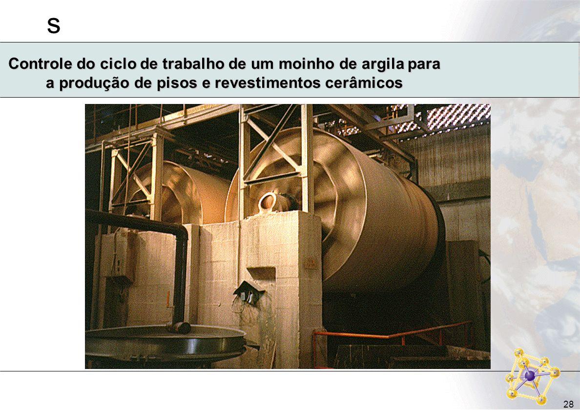 s 28 Controle do ciclo de trabalho de um moinho de argila para a produção de pisos e revestimentos cerâmicos