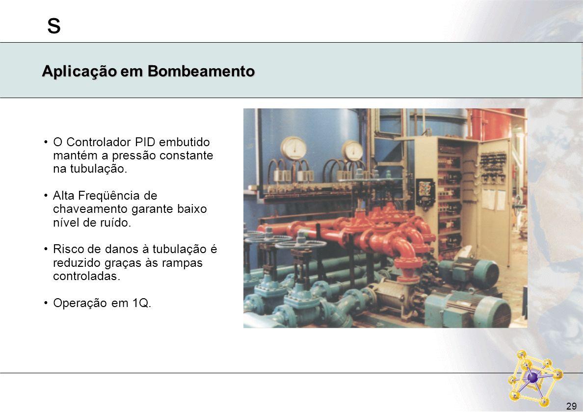 s 29 Aplicação em Bombeamento O Controlador PID embutido mantém a pressão constante na tubulação. Alta Freqüência de chaveamento garante baixo nível d