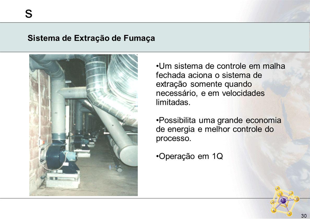 s 30 Sistema de Extração de Fumaça Um sistema de controle em malha fechada aciona o sistema de extração somente quando necessário, e em velocidades li