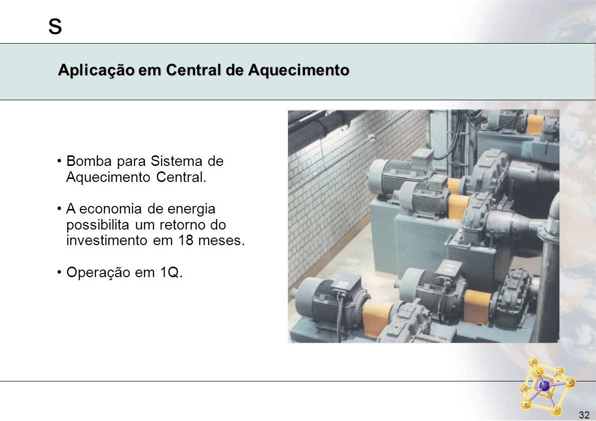 s 32 Aplicação em Central de Aquecimento Bomba para Sistema de Aquecimento Central. A economia de energia possibilita um retorno do investimento em 18