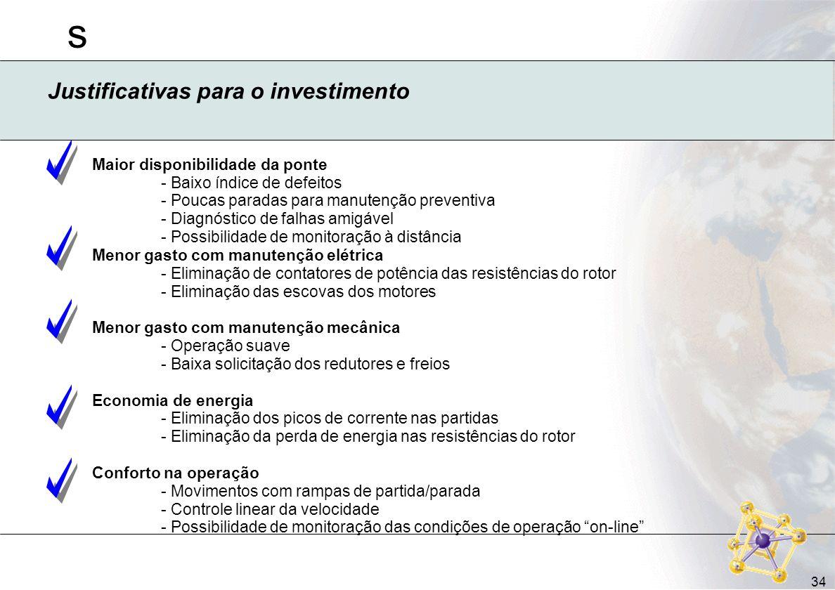 s 34 Justificativas para o investimento Maior disponibilidade da ponte - Baixo índice de defeitos - Poucas paradas para manutenção preventiva - Diagnó