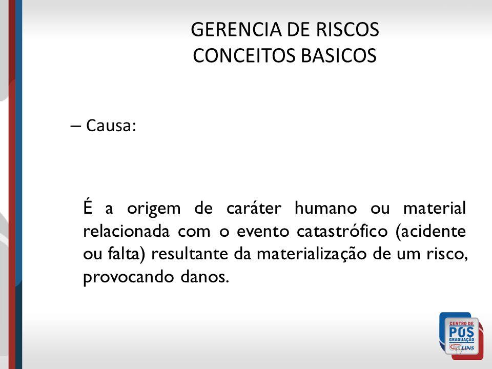 GERENCIA DE RISCOS CONCEITOS BASICOS – Dano: 16 É a gravidade da perda, seja ela humana, material, ambiental ou financeira, que pode ocorrer caso não