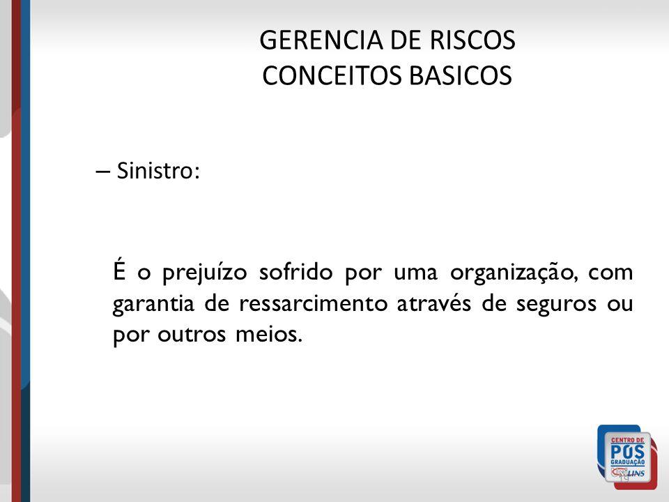 GERENCIA DE RISCOS CONCEITOS BASICOS – Perda: 18 É o prejuízo sofrido por uma organização sem garantia de ressarcimento através de seguros ou por outr