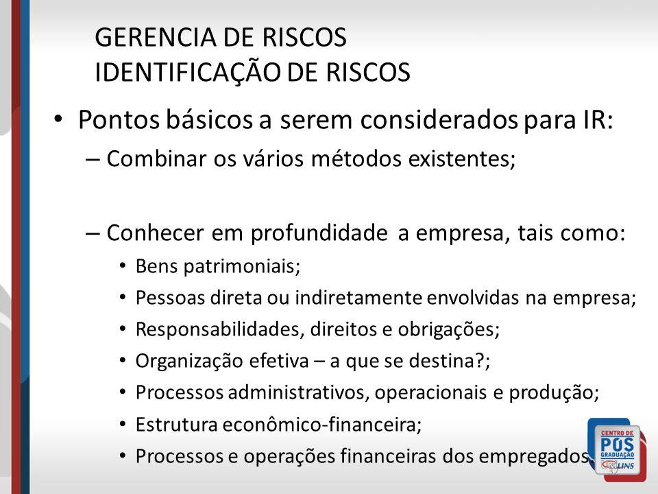 O processo de Gerenciamento de Riscos começa com a IDENTIFICAÇÃO E ANALISE de um problema. Primeiro passo a ser considerado, é conhecer e analisar os