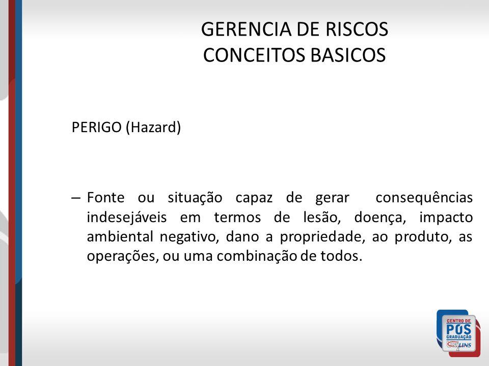 GERENCIA DE RISCOS CONCEITOS BASICOS 3 Perigo X Risco
