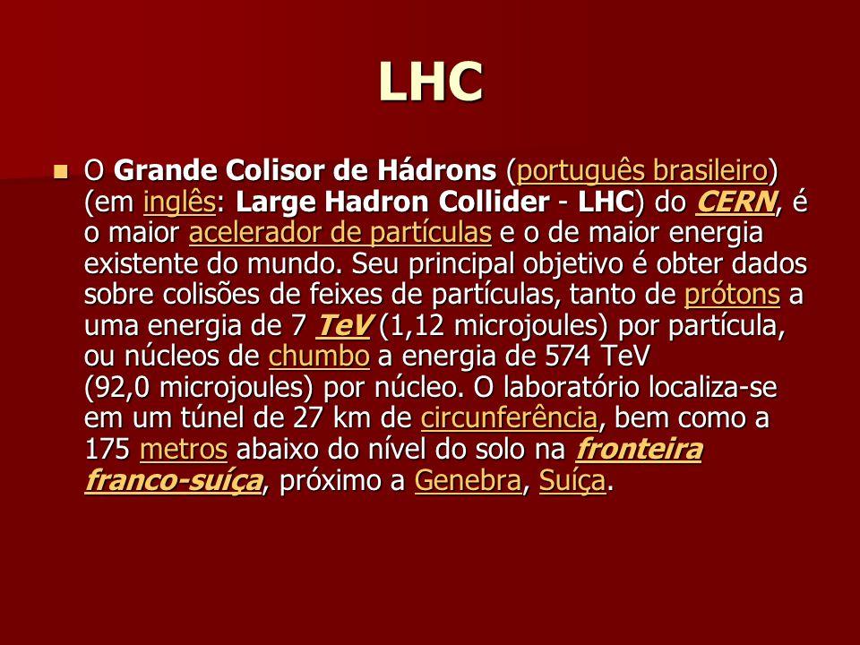 LHC O Grande Colisor de Hádrons (português brasileiro) (em inglês: Large Hadron Collider - LHC) do CERN, é o maior acelerador de partículas e o de maior energia existente do mundo.
