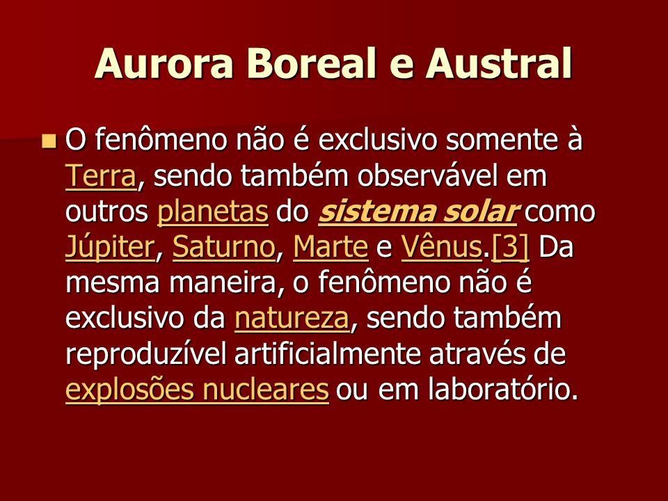 Aurora Boreal e Austral O fenômeno não é exclusivo somente à Terra, sendo também observável em outros planetas do sistema solar como Júpiter, Saturno, Marte e Vênus.[3] Da mesma maneira, o fenômeno não é exclusivo da natureza, sendo também reproduzível artificialmente através de explosões nucleares ou em laboratório.