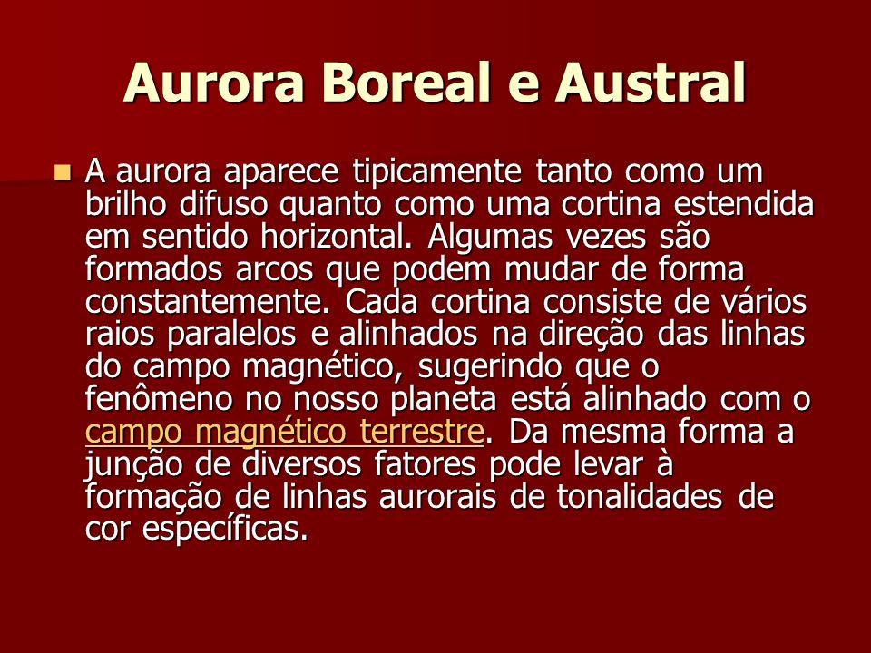 Aurora Boreal e Austral A aurora aparece tipicamente tanto como um brilho difuso quanto como uma cortina estendida em sentido horizontal.
