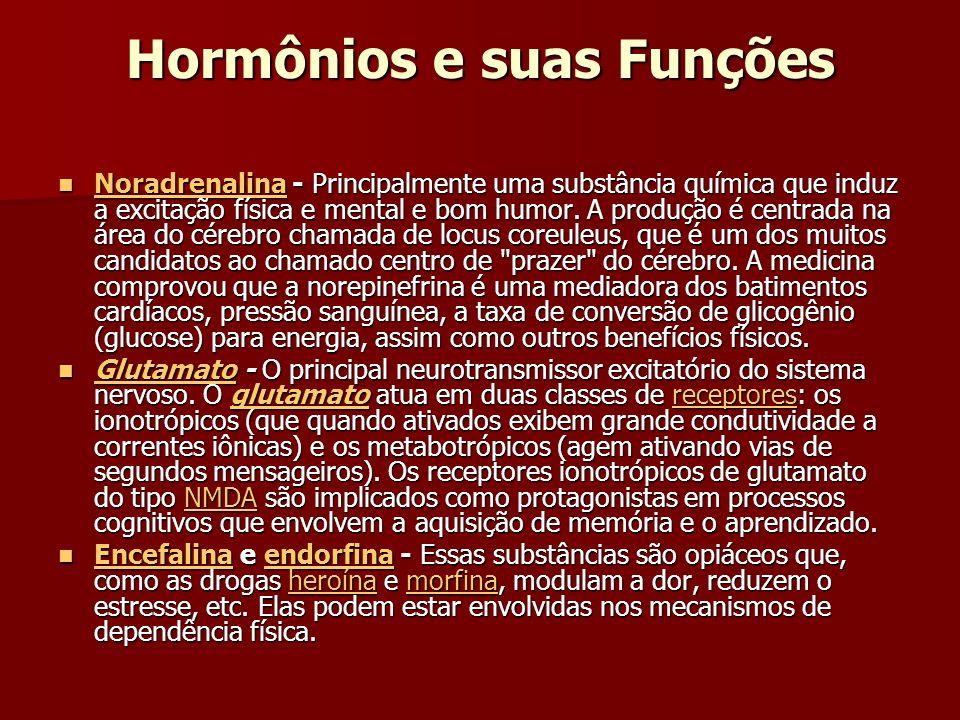 Hormônios e suas Funções Noradrenalina - Principalmente uma substância química que induz a excitação física e mental e bom humor.