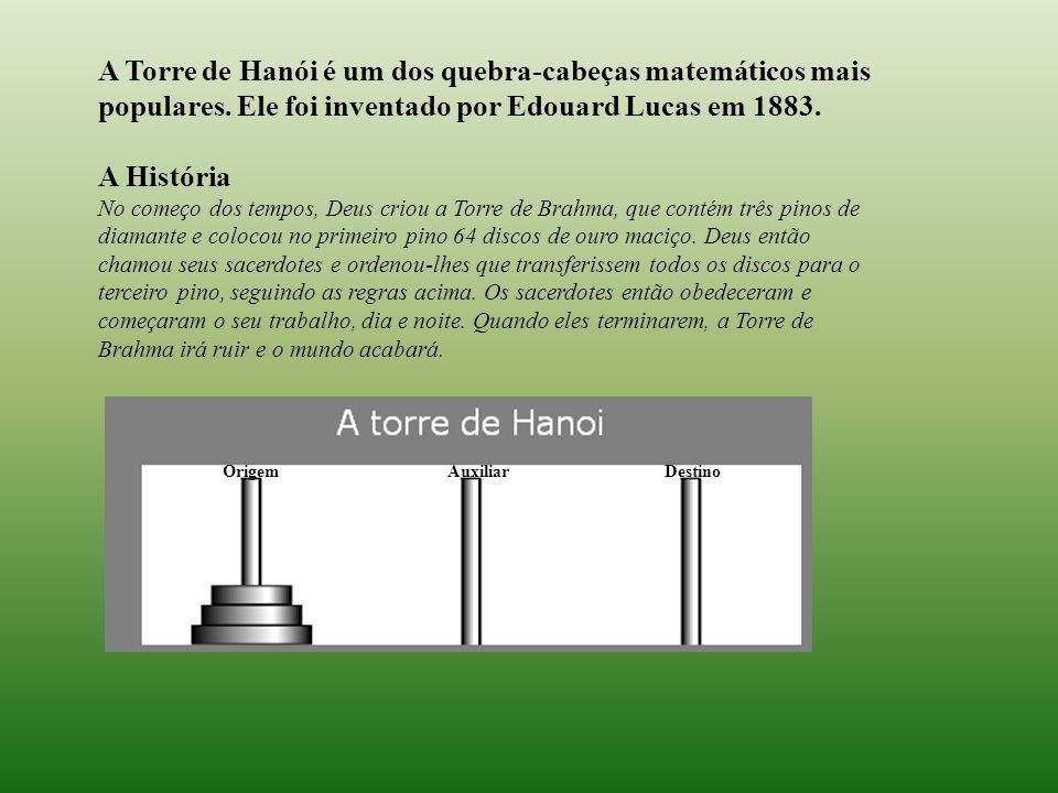 A Torre de Hanói é um dos quebra-cabeças matemáticos mais populares. Ele foi inventado por Edouard Lucas em 1883. A História No começo dos tempos, Deu