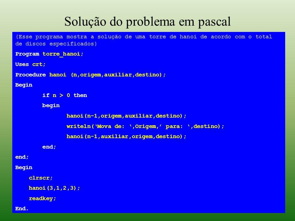 Solução do problema em pascal {Esse programa mostra a solução de uma torre de hanoi de acordo com o total de discos especificados} Program torre_hanoi