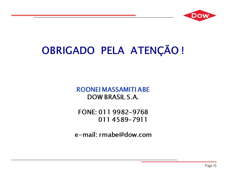 Page 13 OBRIGADO PELA ATENÇÃO ! RODNEI MASSAMITI ABE DOW BRASIL S.A. FONE: 011 9982-9768 011 4589-7911 e-mail: rmabe@dow.com