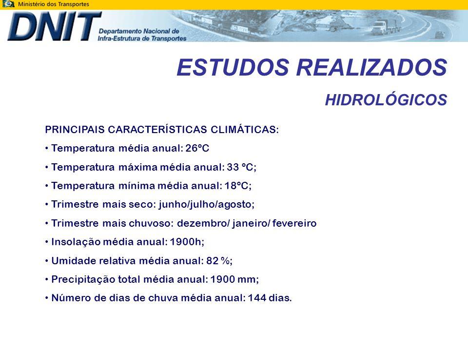 ESTUDOS REALIZADOS HIDROLÓGICOS CARACTERIZAÇÃO PLUVIOMÉTRICA: Dentre os postos pesquisados o que melhor atende ao trecho ora em projeto é o posto de Ji-Paraná, operado pela CPMR, possui dados de observação completos de 1976 a 1996.