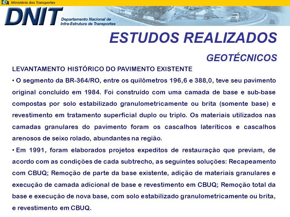 ESTUDOS REALIZADOS GEOTÉCNICOS LEVANTAMENTO HISTÓRICO DO PAVIMENTO EXISTENTE Estes serviços de restauração foram executados em 1994, desde o início do subtrecho até o km 245.
