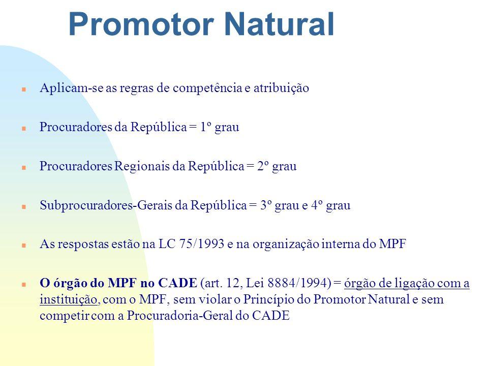 Promotor Natural n Aplicam-se as regras de competência e atribuição n Procuradores da República = 1º grau n Procuradores Regionais da República = 2º g