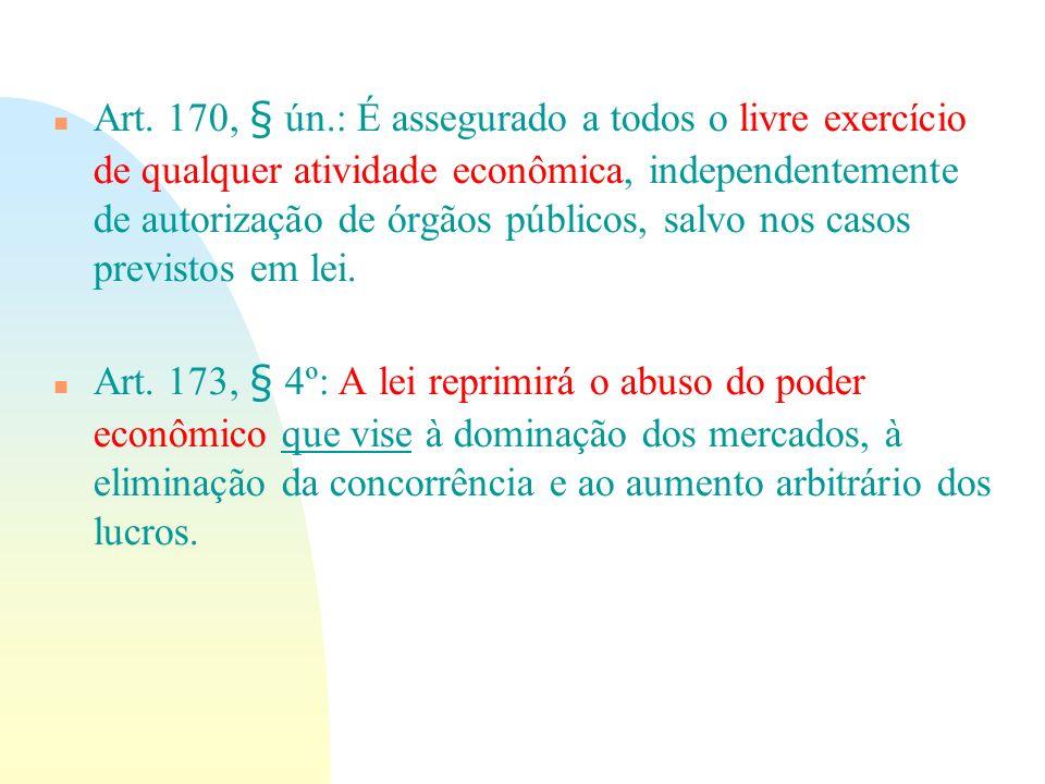 n Art. 170, § ún.: É assegurado a todos o livre exercício de qualquer atividade econômica, independentemente de autorização de órgãos públicos, salvo