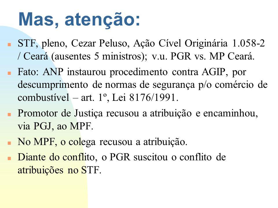 Mas, atenção: n STF, pleno, Cezar Peluso, Ação Cível Originária 1.058-2 / Ceará (ausentes 5 ministros); v.u. PGR vs. MP Ceará. n Fato: ANP instaurou p