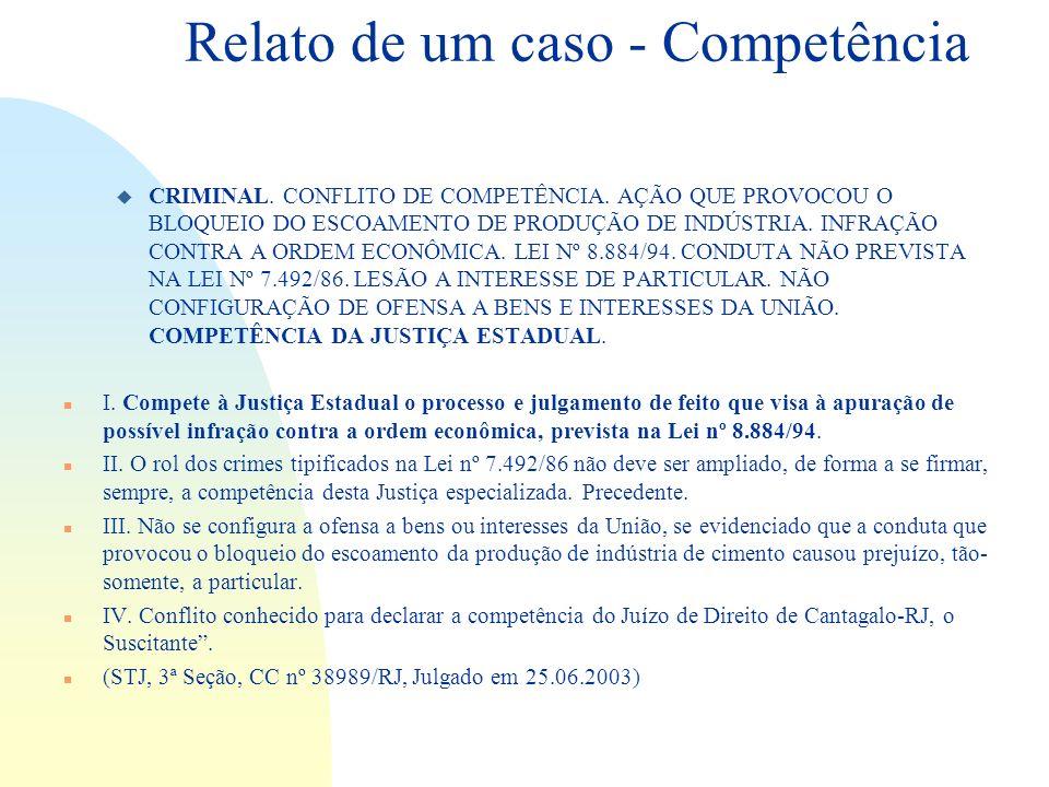 Relato de um caso - Competência u CRIMINAL. CONFLITO DE COMPETÊNCIA. AÇÃO QUE PROVOCOU O BLOQUEIO DO ESCOAMENTO DE PRODUÇÃO DE INDÚSTRIA. INFRAÇÃO CON
