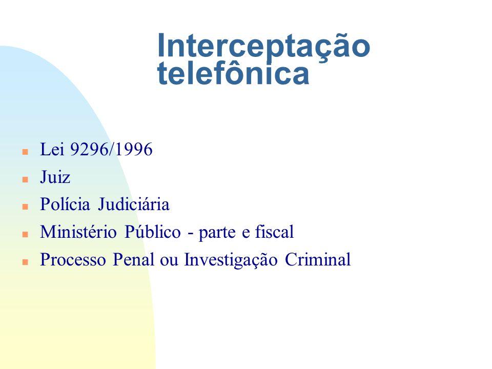 Interceptação telefônica n Lei 9296/1996 n Juiz n Polícia Judiciária n Ministério Público - parte e fiscal n Processo Penal ou Investigação Criminal