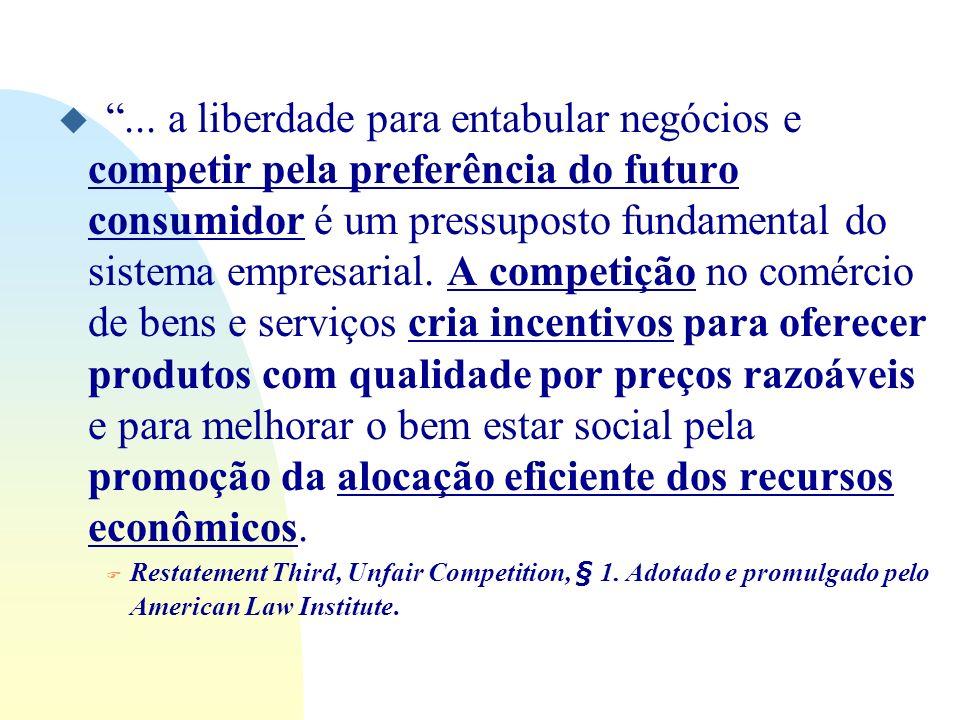 u... a liberdade para entabular negócios e competir pela preferência do futuro consumidor é um pressuposto fundamental do sistema empresarial. A compe