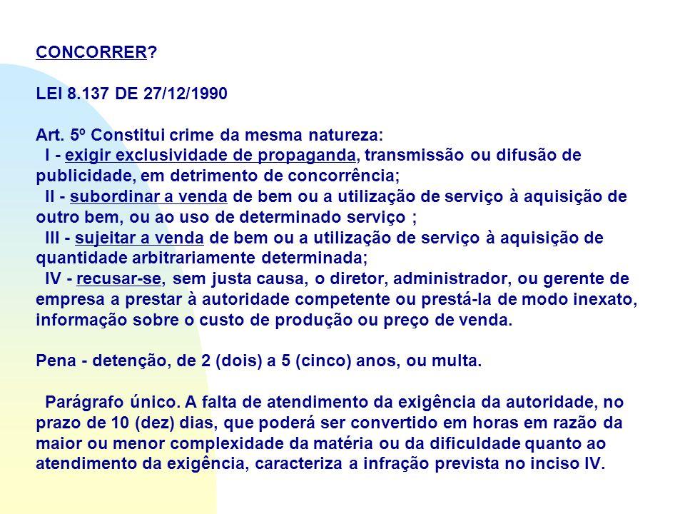 CONCORRER? LEI 8.137 DE 27/12/1990 Art. 5º Constitui crime da mesma natureza: I - exigir exclusividade de propaganda, transmissão ou difusão de public