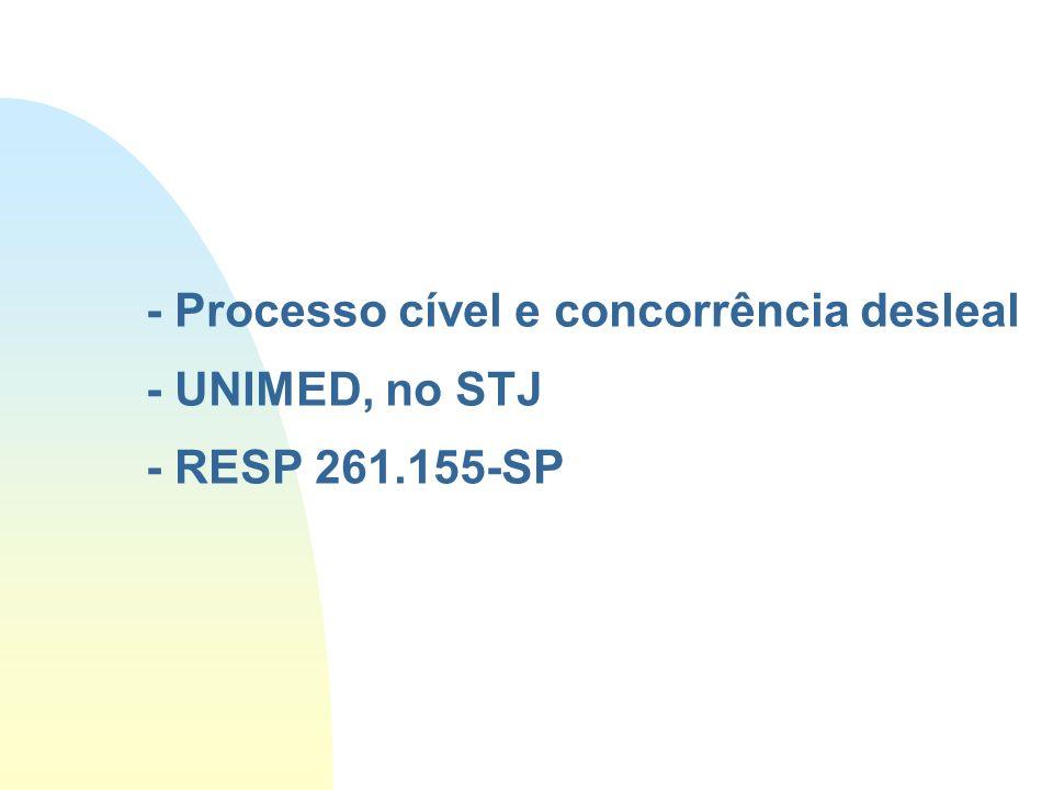 - Processo cível e concorrência desleal - UNIMED, no STJ - RESP 261.155-SP