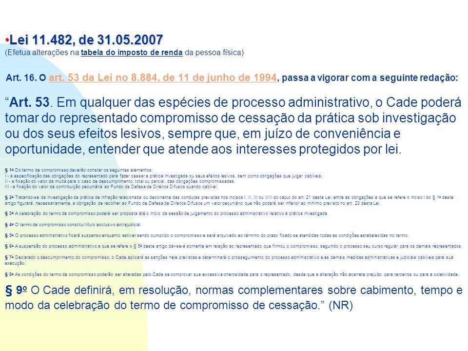 Lei 11.482, de 31.05.2007Lei 11.482, de 31.05.2007 (Efetua alterações na tabela do imposto de renda da pessoa física) Art. 16. O art. 53 da Lei no 8.8