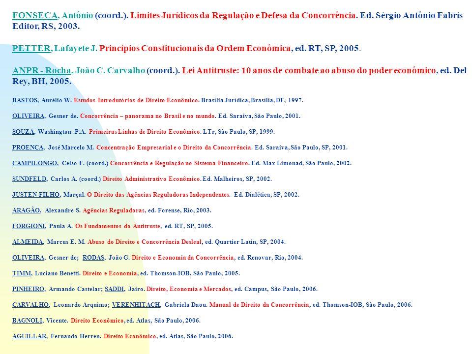 FONSECA, Antônio (coord.). Limites Jurídicos da Regulação e Defesa da Concorrência. Ed. Sérgio Antônio Fabris Editor, RS, 2003. PETTER, Lafayete J. Pr