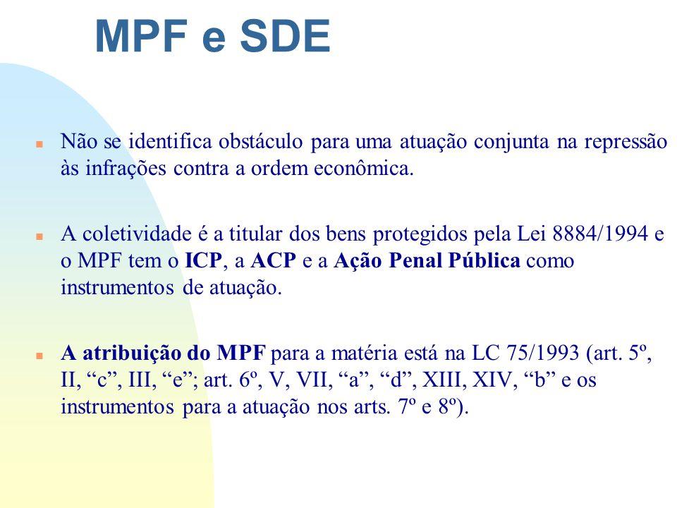 MPF e SDE n Não se identifica obstáculo para uma atuação conjunta na repressão às infrações contra a ordem econômica. n A coletividade é a titular dos