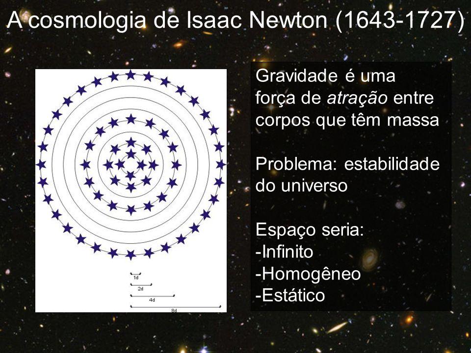 Gravidade é uma força de atração entre corpos que têm massa Problema: estabilidade do universo Espaço seria: -Infinito -Homogêneo -Estático Gravidade